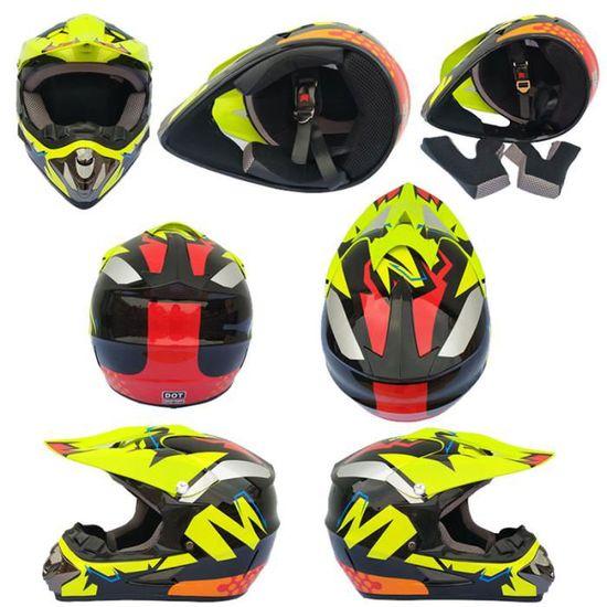 ,Cinq /étoiles,L Adulte Motocross Casque de Moto et parsemer MX Motocross VTT Cross Country//Gants//Lunettes//Masque Ensemble de 4 pi/èces