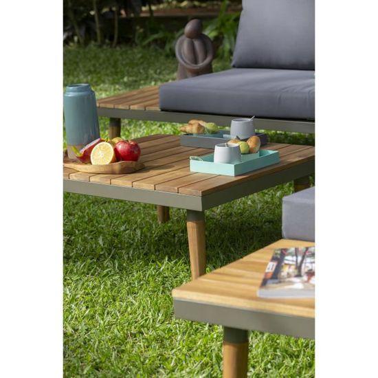 Salon de jardin en bois d\'acacia 6 personnes CANAS bois et coussins gris