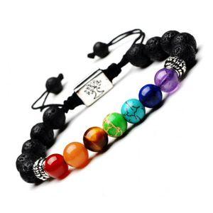 BRACELET - GOURMETTE Bracelet 7 chakras et pierre de lave - Symbole Arb