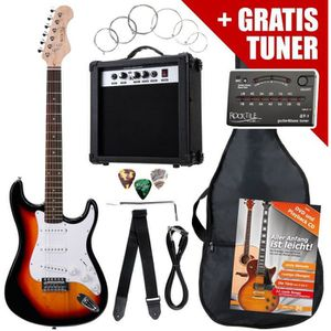 GUITARE Rocktile ST Pack Guitare electrique Set Sunburs…
