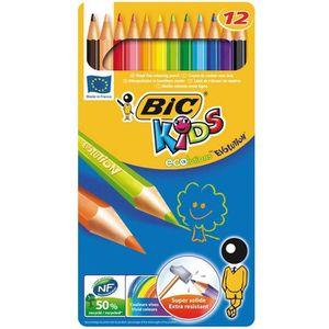 CRAYON DE COULEUR BIC ECOlution Kids Evolution Boite Métal 12 Crayon