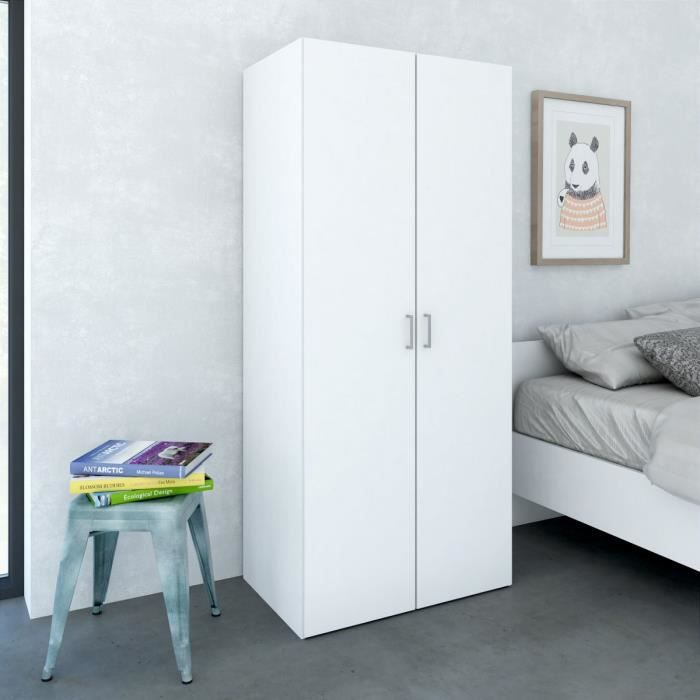 space armoire 77x49 x175 cm blanc achat vente armoire. Black Bedroom Furniture Sets. Home Design Ideas