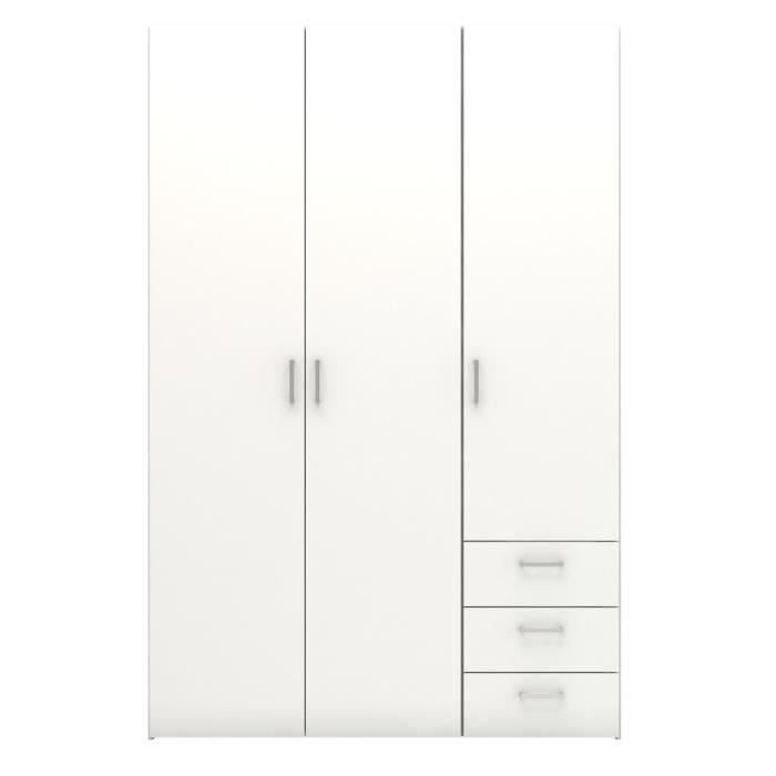 Space armoire 116x49x175 cm blanc achat vente armoire for Achat armoire chambre