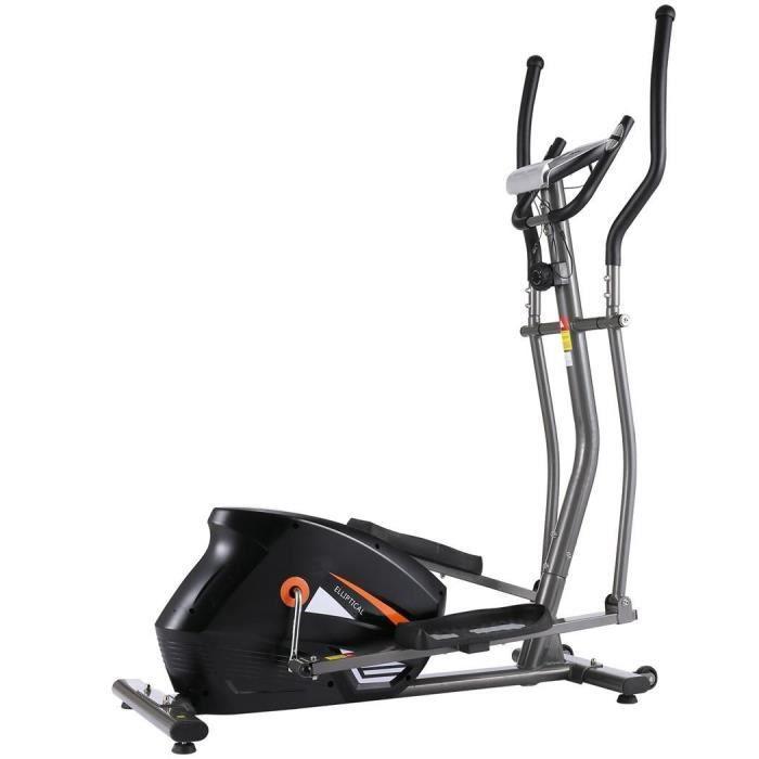 ANCHEER Vélo Elliptique Magnétique Cross Trainer avec APP/écran LCD/Fréquence Cardiaque, 10 niveaux de résistance, Gris