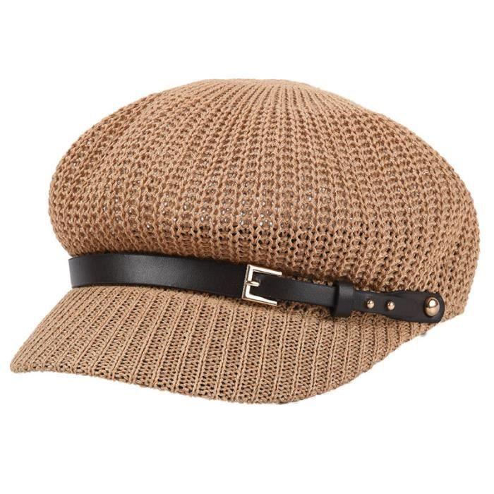 Haute Qualite Printemps Coree Vintage Couleur Unie Casquette Octogonal Decorer Beret Bonnet Pour Les Femmes Camel
