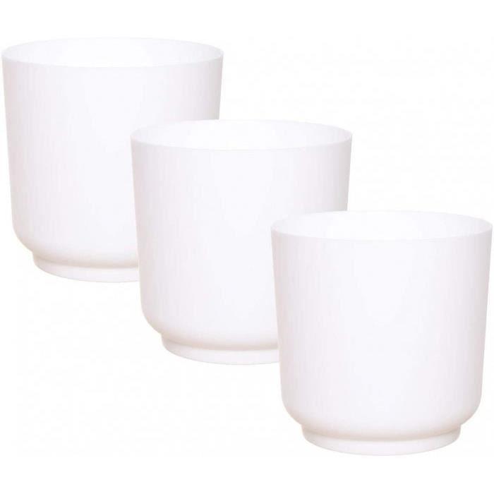 Rond, Petit, Pots De Fleurs, Pot Plante, Jardiniere, Vase, Petite, Interieur, Exterieur, Incassable- Version: 15 Cm - 3 St. - Weiss