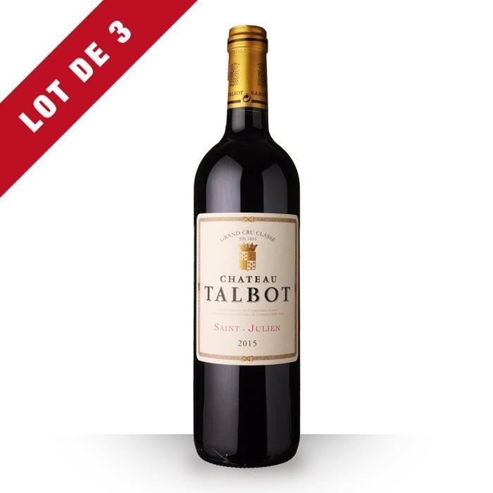 3x Château Talbot 2015 AOC Saint-Julien - 3x75cl - Vin Rouge