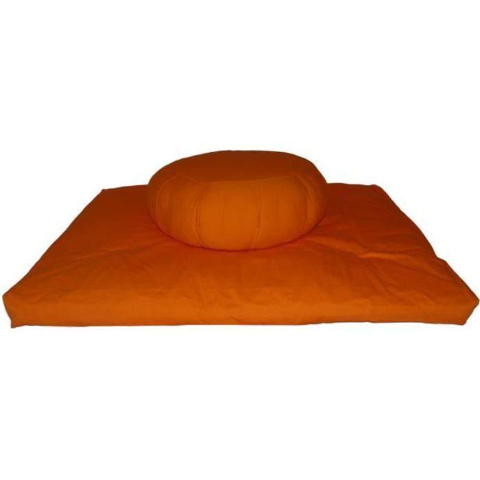 Set Zafu + Zabuton confort plus Orange/safran