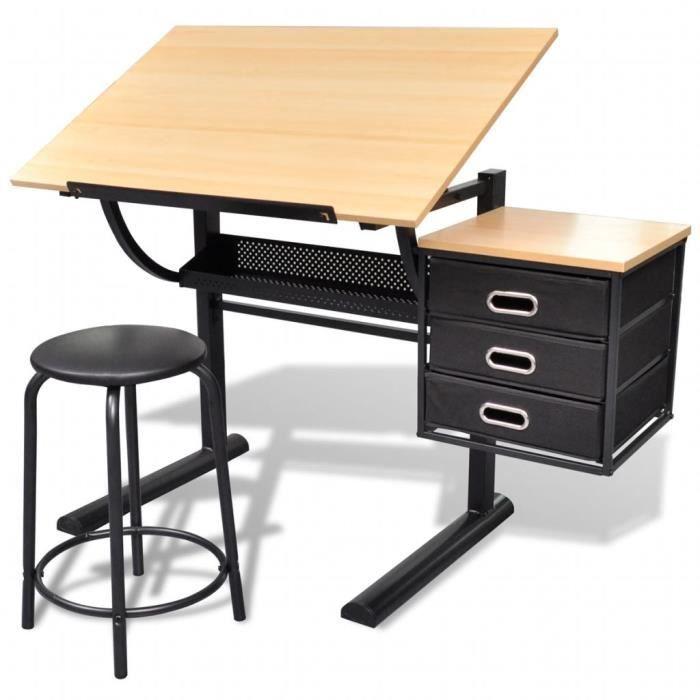 Luxueux -Table à dessin Bureau à Dessin - inclinable à 3 tiroirs avec tabouret
