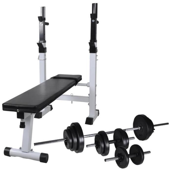 Banc de musculation Banc d'entraînement - Appareil de musculation avec support de poids jeu d'haltères 30,5kg Chic *245591