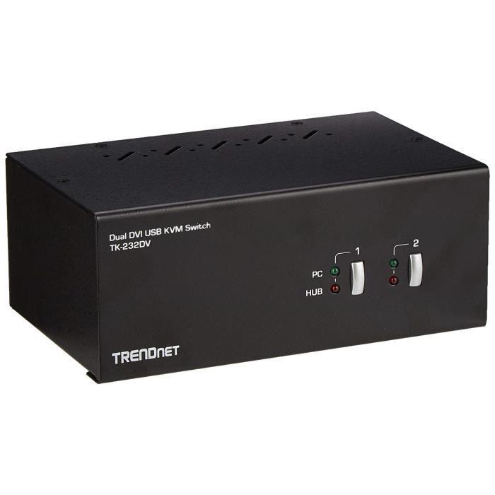 TRENDnet Double Moniteur DVI KVM Switch avec Audio, Hub USB 2.0 2 Ports, Résolutions numériques jusqu'à 1920 x 1200, Résolutions