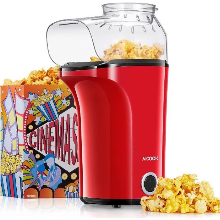 Machine à Pop Corn, AICOOK 1400W Retro Popcorn Machine, 16Cups Grande Capacité, Air Chaud Sans Gras Huile, Sans BPA, Rouge [Classe é