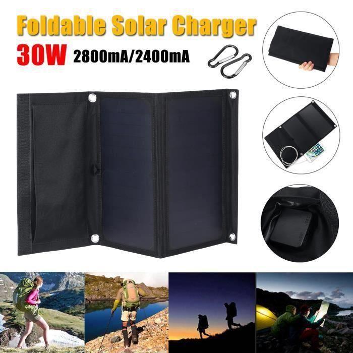 Sunpower 30W 5V Panneau Solaire Pliable Double USB Camouflage Sac À Dos Camping Randonnée Bo53299