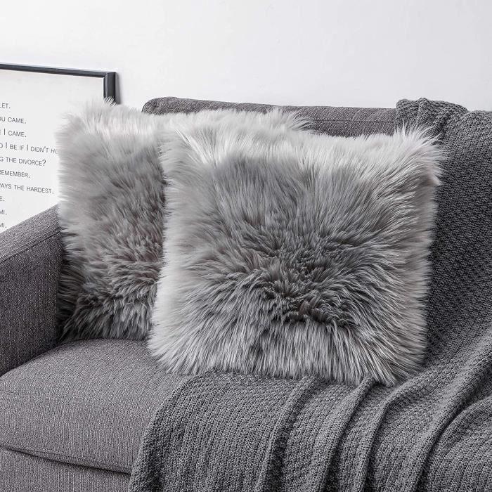 Lot de 2 Housses de Coussin décoratives Douces en Fourrure d'agneau synthétique à Poils Longs - pour canapé (Gris, 50 x 50 cm)[881]