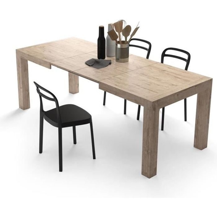 Mobili Fiver, Table à manger extensible, Iacopo, Chêne naturel, Mélaminé, Made in Italy