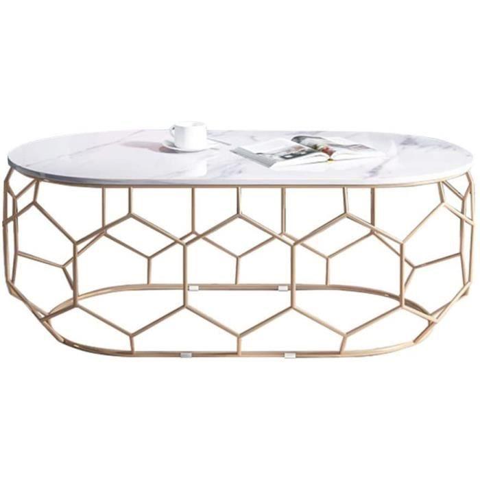 TABLE GIGOGNE DAKEUR Table Basse en marbre Ovale Blanche, Plateau de Peinture de Cuisson en m&eacutetal en Fer forg&eacute d115