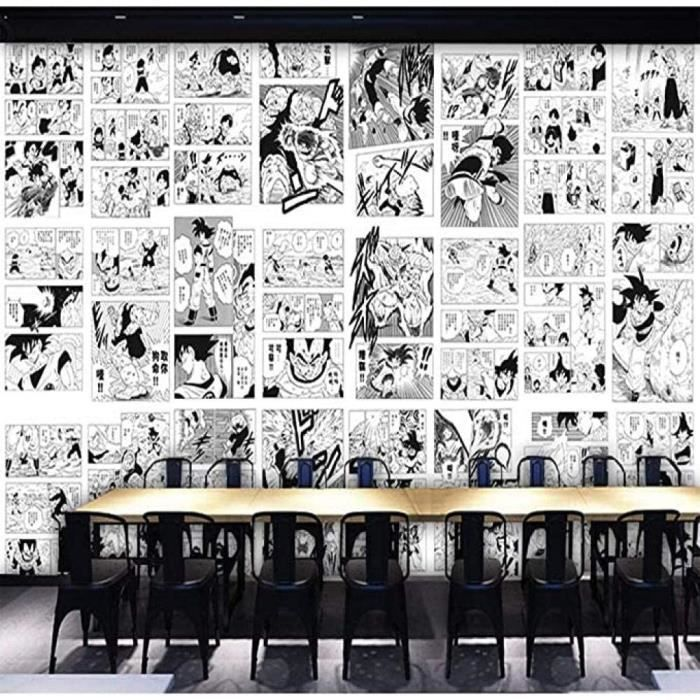 3D Style Japonais Noir Et Blanc Dragon Ball Dessin Animeacute Papier Peint Enfants Chambre Chambre Manga Papier Peint 140l x1[104]