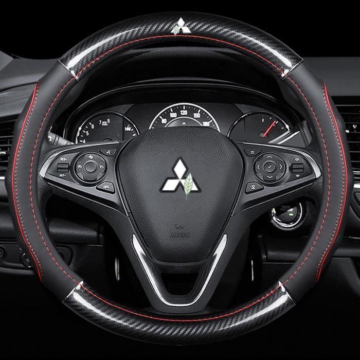 Couvre volant,Voiture en cuir de Fiber de carbone couvre les accessoires intérieurs 38cm pour Mitsubishi - Type Round-Red(38cm)