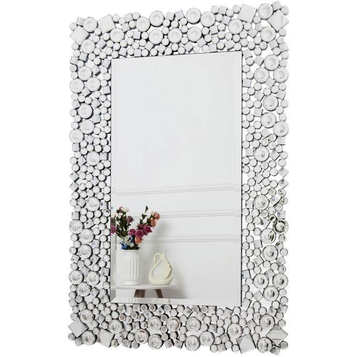 RICHTOP Miroir Murale Grand Rectangulaire Moderne Bois Noir Design avec Cristal Scintillant, Miroirs Decoration Fix&eacute a[221]