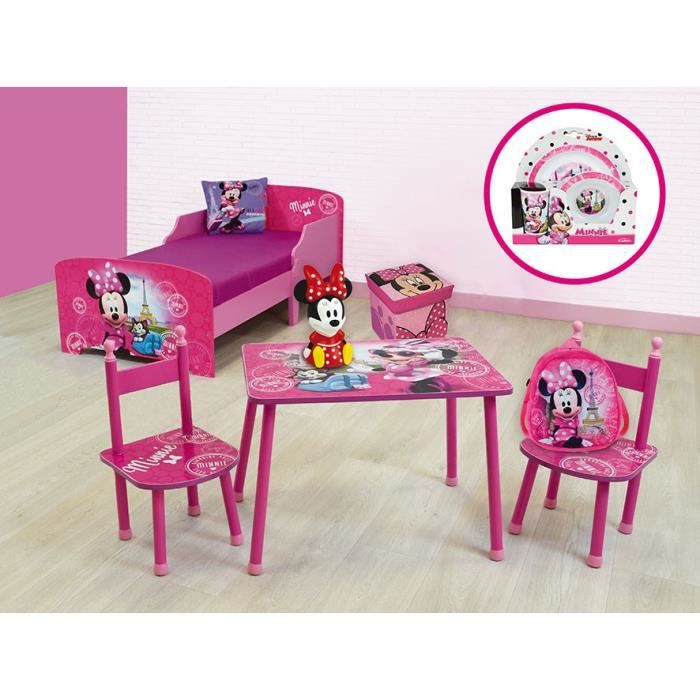 MINNIE Pack chambre complète enfant Rose (Lit, Table et chaises, veilleuse, coussin sac à dos...)
