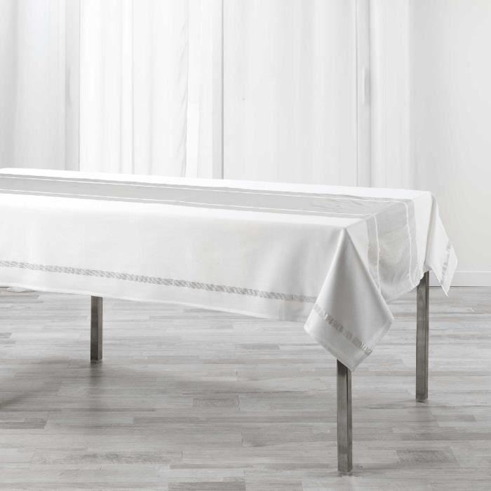 Nappe rectangulaire 140x240 cm Elegancia argent 140 X 240 Blanc