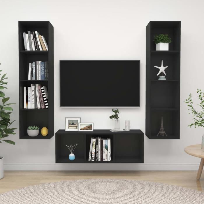 HENGL Ensemble de meuble TV 3 pcs Noir Aggloméré 7895335460949