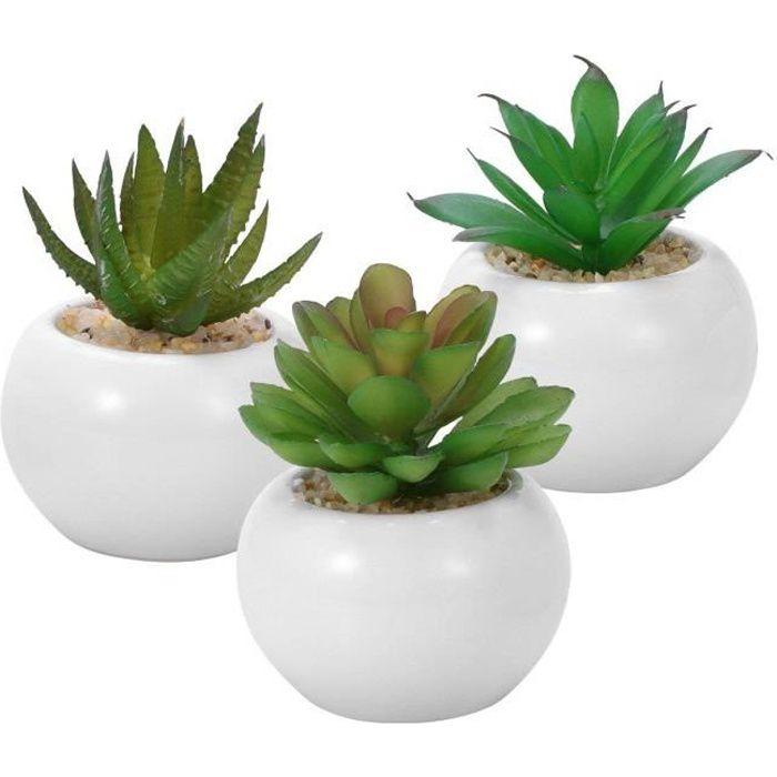 3pcs succulentes artificielles décoratives, Mini pot de fausses plantes avec des pots blancs