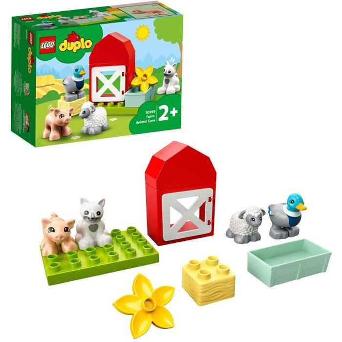 LEGO® 10949 DUPLO® Town Les Animaux de la Ferme Jouet avec Figurines du Canard, Cochon et Chat pour Enfant de 2 Ans et +