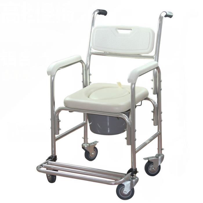 MCTECH Chaise de toilette Fauteuil roulant de douche Fauteuil de bain Fauteuil roulant