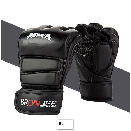 Noir Rouge Gants de boxe BRONJEE Gants demi-doigts UFC Sanda Fight mma Entraînement au sac de boxe Gants de doigts