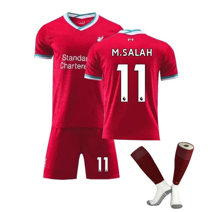 Premier League Liverpool 20-21 NO.11 M.SALAH Jersey Maillots Foot et Shorts de Football+ Chaussettes Enfant-Rouge