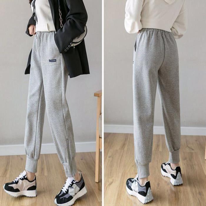 Jogging d'hiver pour femmes, bas amples, pantalons de sport thermiques longs de couleur unie SAY201126663GYS