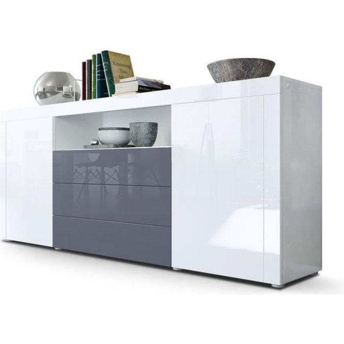 Buffet laqué blanc / Gris 167 cm