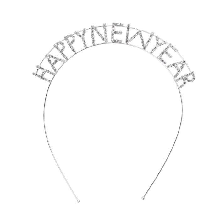 Bonne année lettre cristal cerceau bande de femmes coiffe pour fête du nouvel BANDEAU - SERRE-TETE - HEADBAND - HAIRBAND