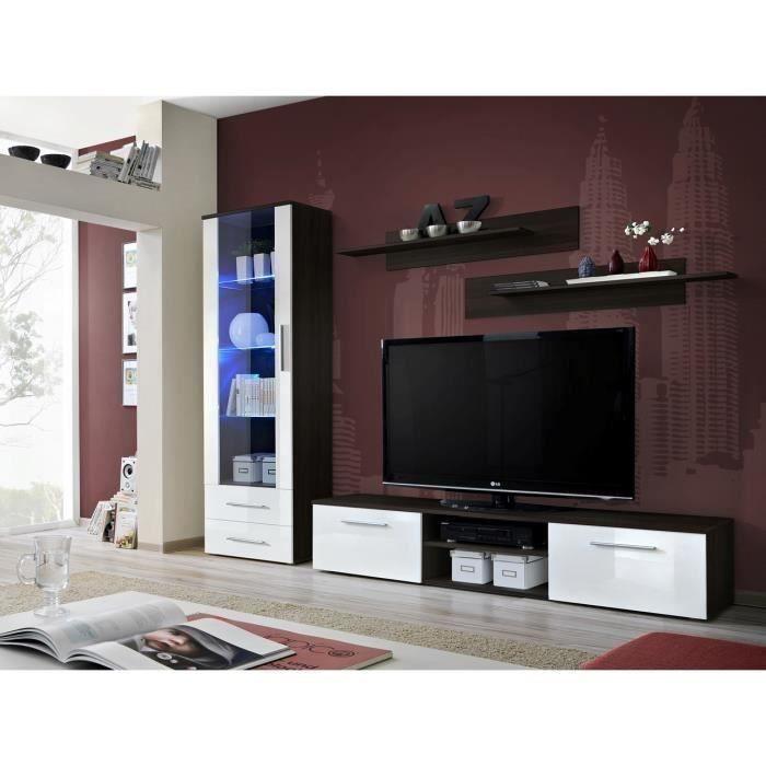 Meuble TV GALINO A design, coloris wengé et blanc brillant. Meuble moderne et tendance pour votre salon. 37 Blanc