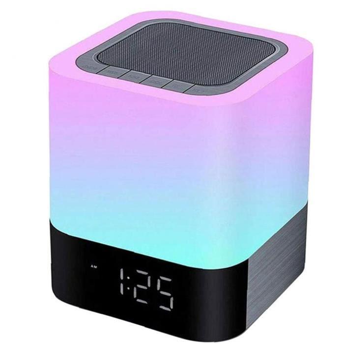 Lampe de haut-parleur sans fil Bluetooth lumières Réveil Horloge MP3 Musique Lecteur Touch Capteur Couleur Couleur Change Lampe Noir