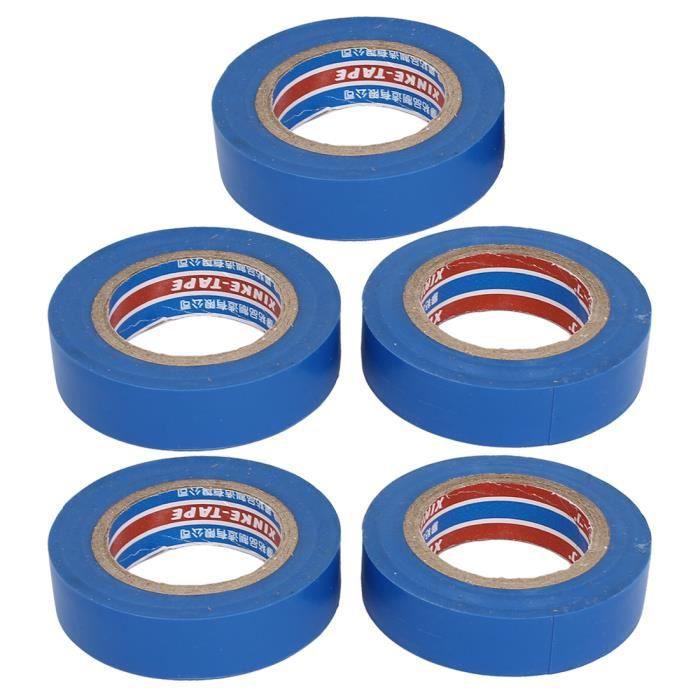 Réparation fil câble Ruban isolation électrique auto-adhésif bleu PVC bande 5pcs
