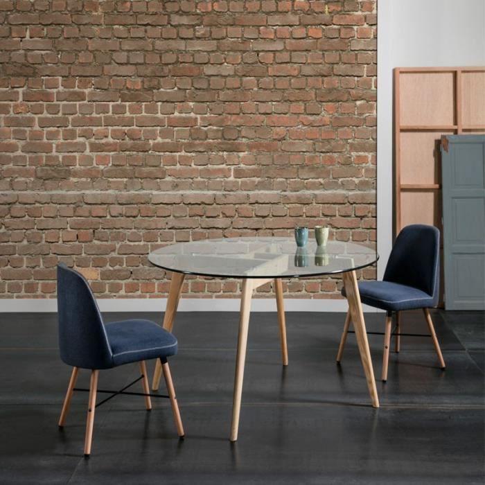 Table de repas Ronde Verre/Frêne - SAMBA - L 120 x l 120 x H 76