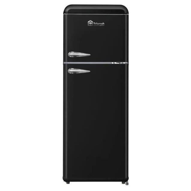 TRIOMPH TLDP208N - Réfrigérateur Vintage congélateur haut - 208L (157 + 51) - Froid statique - L 55 x H 147 cm - Noir