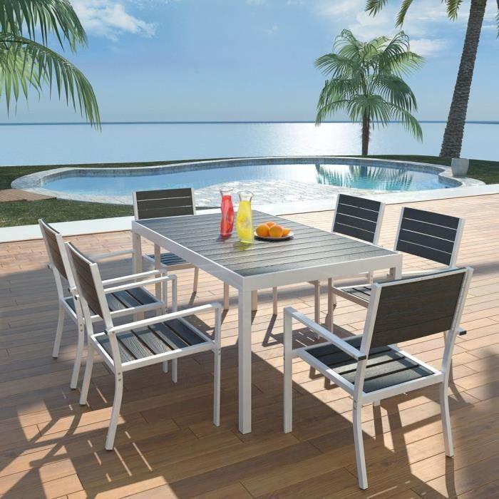 Salon de jardin 6 places Mobilier d'extérieur 7 pcs 150x90x74 cm Aluminium WPC Noir
