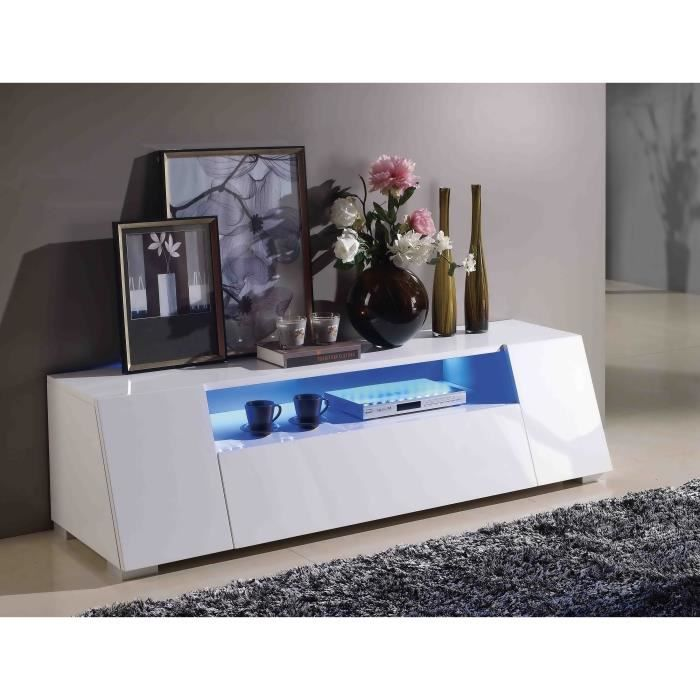 meuble tv meuble de salon bourne blanc laqu led achat vente meuble tv meuble tv meuble de. Black Bedroom Furniture Sets. Home Design Ideas