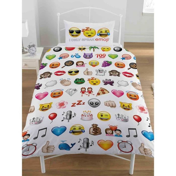 emoji multi housse de couette single et taie d oreiller set achat vente housse de couette. Black Bedroom Furniture Sets. Home Design Ideas