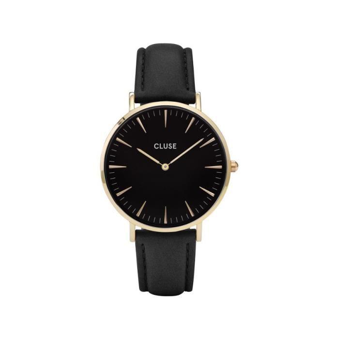montre bracelet cuir femme noir