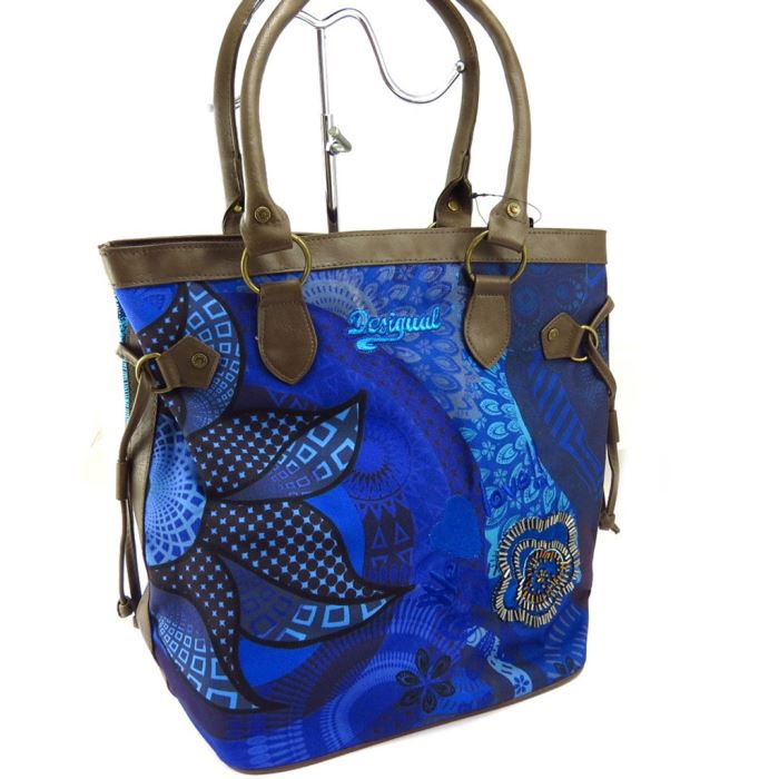 sac cr ateur desigual bleu marron achat vente sac cr ateur desigual ble cdiscount. Black Bedroom Furniture Sets. Home Design Ideas