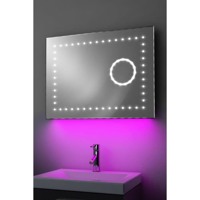 miroir led bluetooth miroir led salle de bains antibue avec clairage variant et horloge eva et. Black Bedroom Furniture Sets. Home Design Ideas