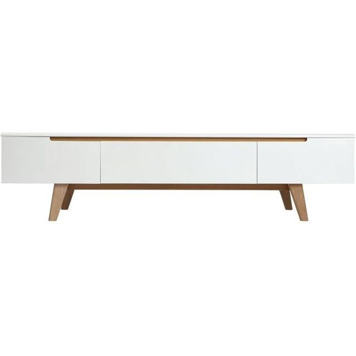 meuble tv scandinave blanc brillant et fr ne 180cm melka achat vente meuble tv melka meuble. Black Bedroom Furniture Sets. Home Design Ideas