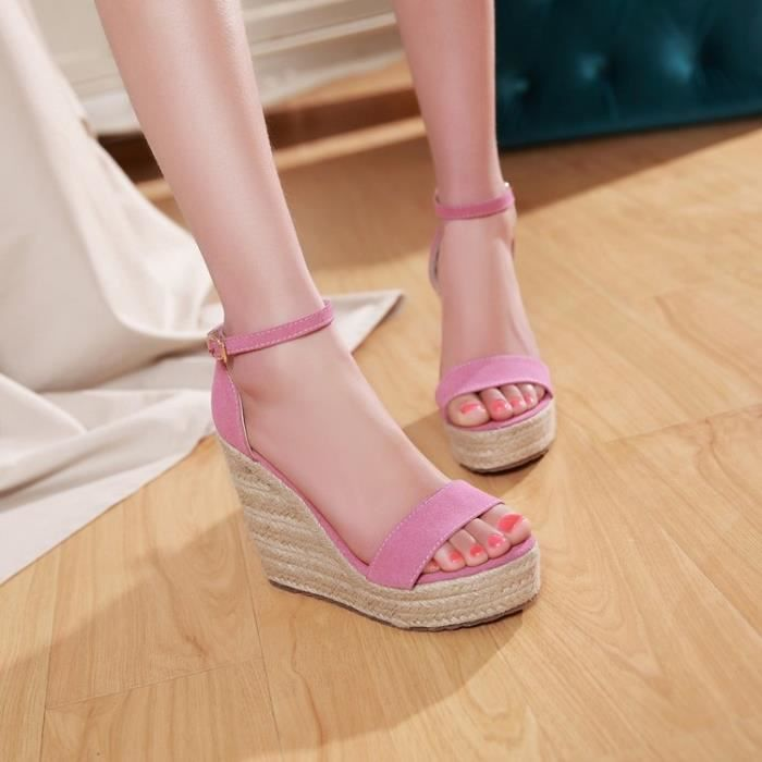 talons hauts-Pure Color High Heel Wedge Heel fe...