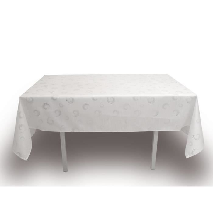 Soleil d 39 ocre nappe de table spirales 140x300 cm blanc for Nappe pour table basse