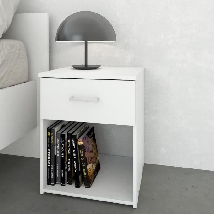 Space table de nuit 1 tiroir 37 cm blanc achat vente for Modele table de nuit