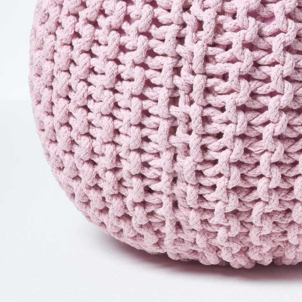 Pouf Jonc De Mer pouf en tricot rond coloris rose pastel 35 x 40 cm